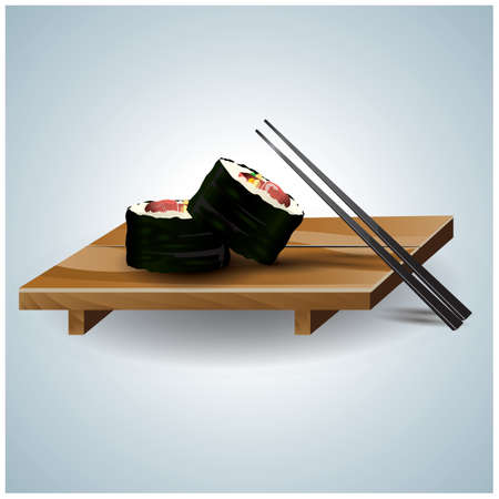 sushi with chopsticks Stock Vector - 81536284