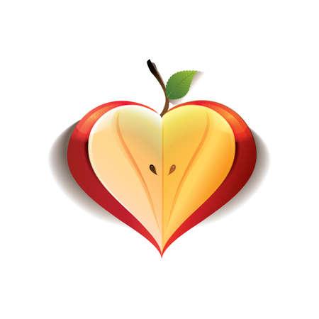 manzana corazón Ilustración de vector