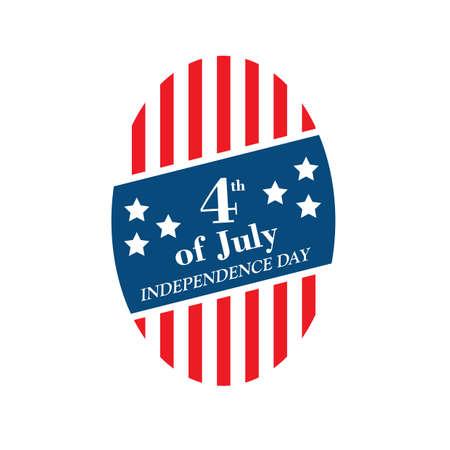 Ilustración de etiqueta de día de la independencia de Estados Unidos. Foto de archivo - 81486373