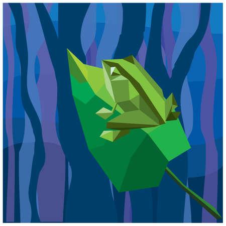 frog on leaf  イラスト・ベクター素材