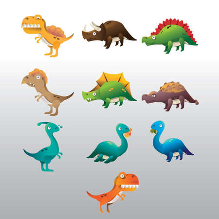 set of dinosaur icons Çizim