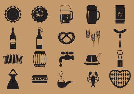 conjunto de iconos de oktoberfest Ilustración de vector