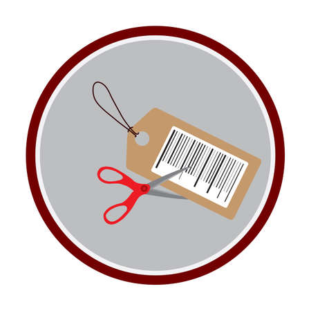 a pair of scissors cutting a price tag Illustration