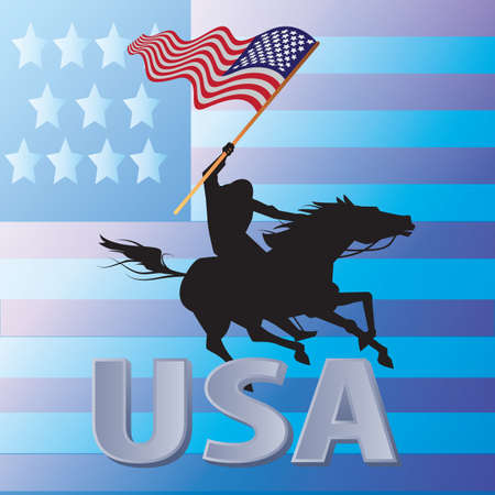 man riding mustang horse carrying the american flag Ilustracja