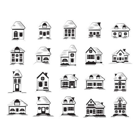 collection of house icons 向量圖像