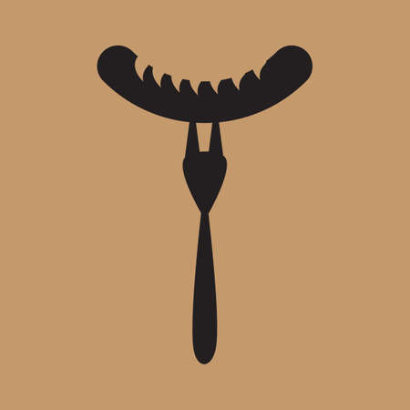 meat fork with sausage