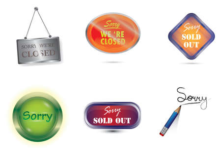 set of sorry labels Stock Illustratie