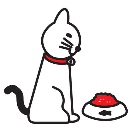 cat looking at food Illustration