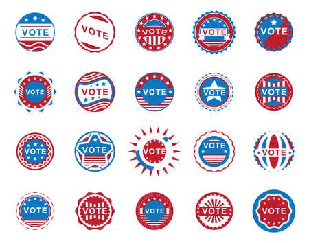 米国投票ラベル コレクション イラスト。