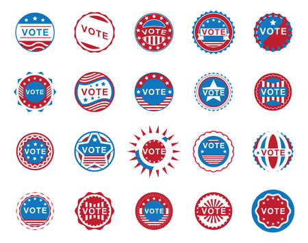 USA vote labels collection illustration.