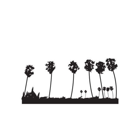 silhouette of coconut trees Ilustrace