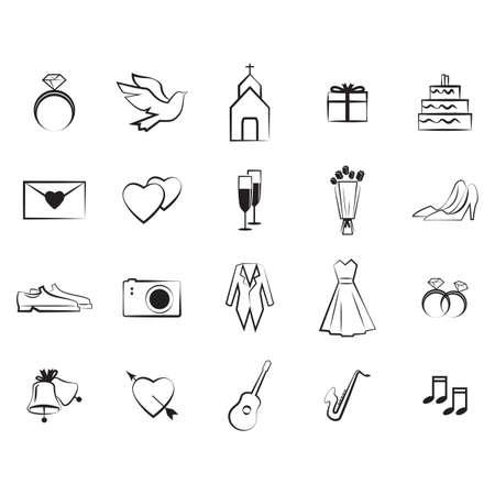 Satz von Hochzeit-Symbole Standard-Bild - 81538827