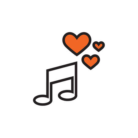 music symbol icon with heart
