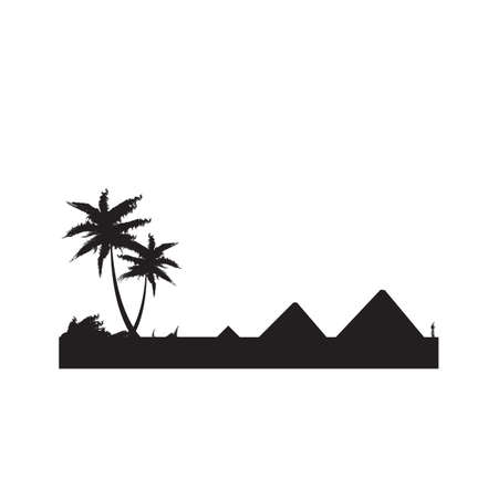silhouette of coconut trees and pyramids