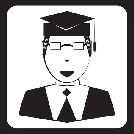 man wearing graduation hat Ilustrace