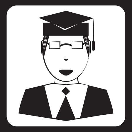 Uomo che indossa cappello di graduazione Archivio Fotografico - 81536429