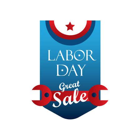 usa labor day label Иллюстрация