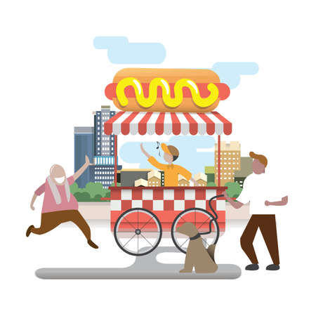 hot dog cart Illustration