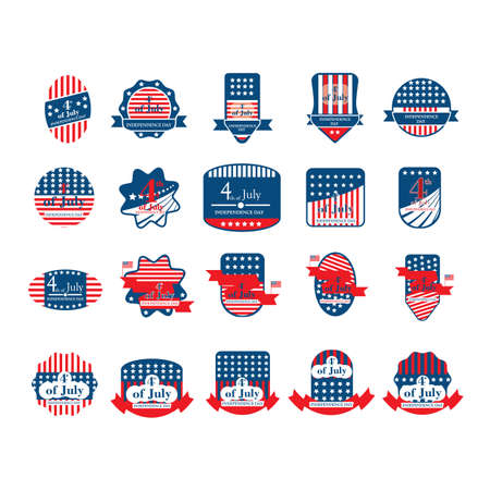 USA independence day label and banner collection.