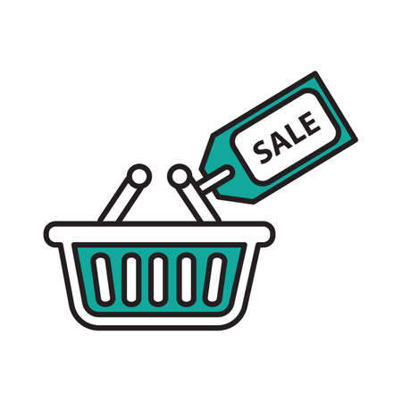 Shopping basket with sale tag Illustration