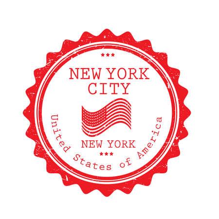 Een illustratie van het de stadsetiket van New York.