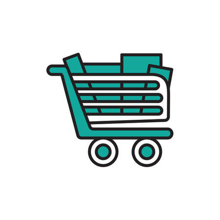 Shopping cart with items Illustration