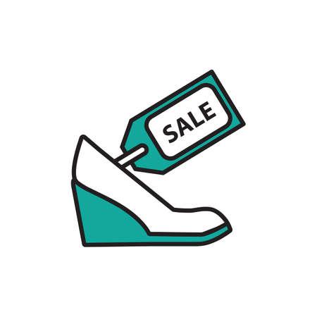 Zapato de mujer con etiqueta de venta. Foto de archivo - 81536266