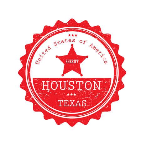 Een Houston Texas-etiketillustratie.
