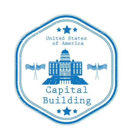 A capital building label illustration.