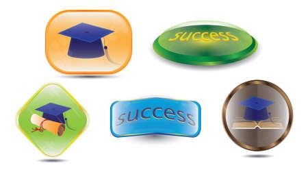 set of success buttons Illustration