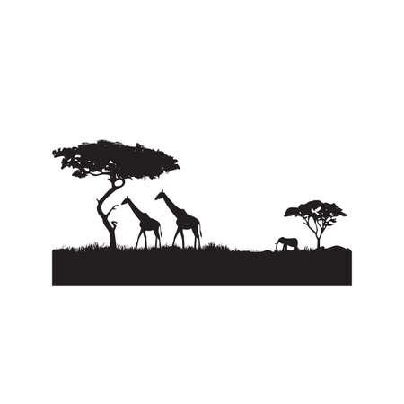 silhouet van een savanne Stock Illustratie