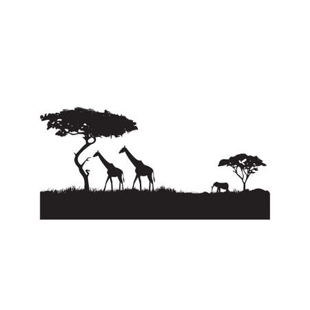silhouette of a savannah Illustration