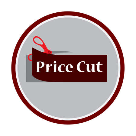 a pair of scissors cutting a discount tag Illustration