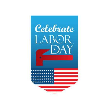 USA labor day label illustration.