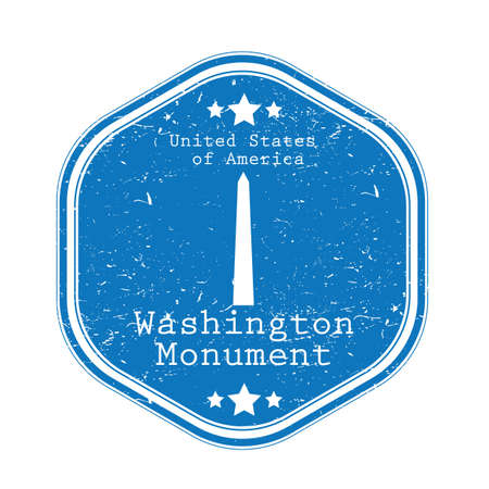 Washington monument label illustration.