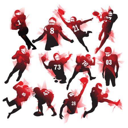 set of american football players Illustration