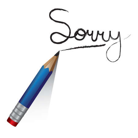 a pencil writing the word sorry Illustration
