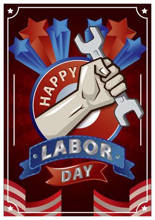 Una ilustración feliz del cartel del día del trabajo. Foto de archivo - 81486596