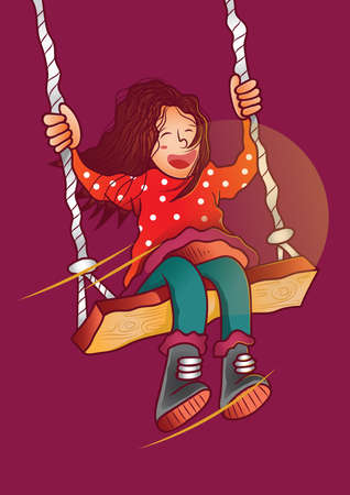girl having fun on swing Reklamní fotografie - 106673487