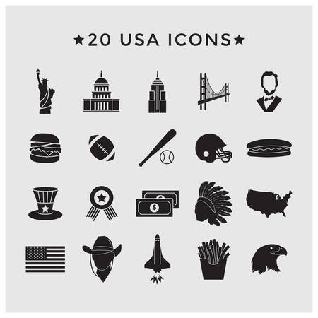 usa icons set Illustration