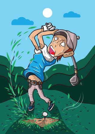 golfer striking the golf ball  イラスト・ベクター素材
