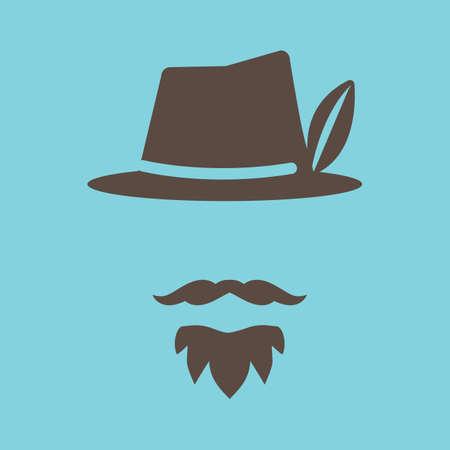 Fedora hat and facial hair Иллюстрация