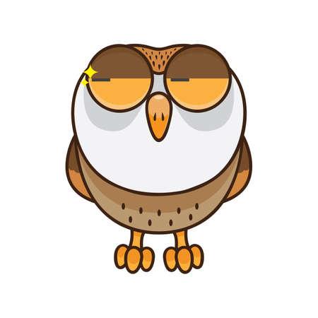 Owl glancing Illusztráció