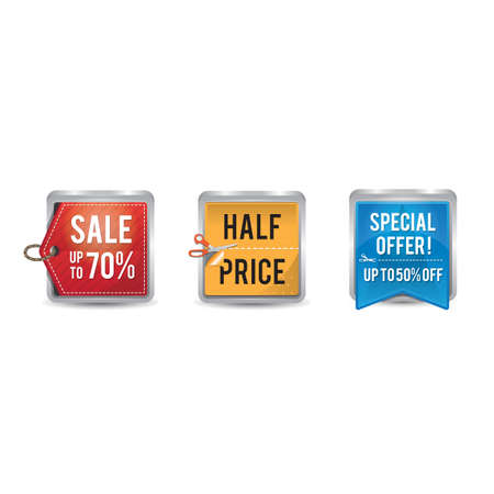 set of sale tags and labels