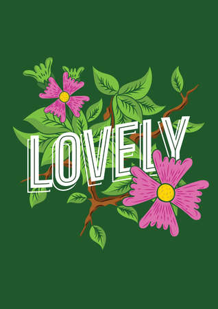 lovely text with floral 矢量图像