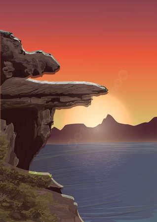 rock cliff 일러스트