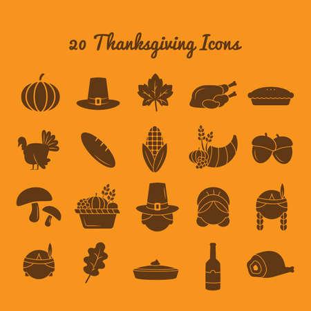 set of thanksgiving icons Standard-Bild - 106673546