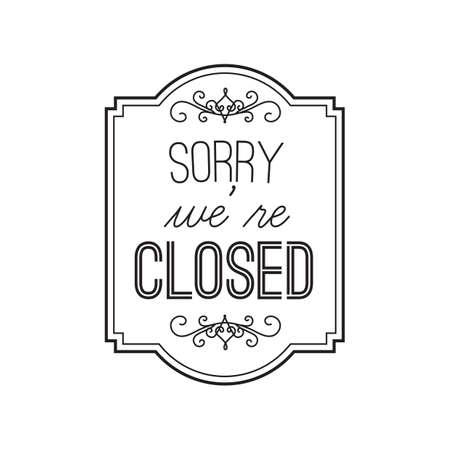 sorry we zijn gesloten label Vector Illustratie
