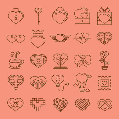 collection of various heart shaped icons Ilustração