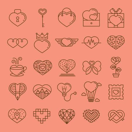 Sammlung von verschiedenen herzförmigen Icons Standard-Bild - 81536659